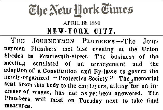 In The Period Before The Civil War The Plumbing Industry In New York City Became Polarized Between The Master Plumbers Society Or Boss Plumbers As They
